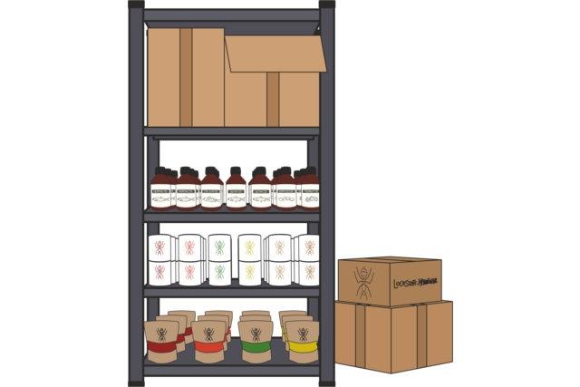 Volles Lager bei der Lockstoff-Manufaktur garantiert eine schnelle Lieferung.